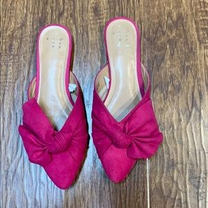 A New Day Beth Bow Mules Fuchsia pink size 6.5